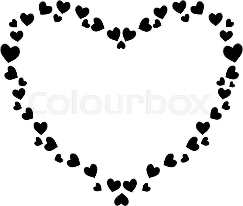 Vector Cute Black Hearts Photo Frame Stock Colourbox