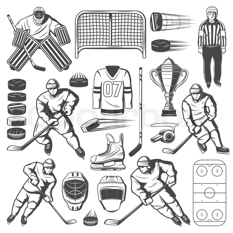 Ice Hockey Icons Of Players Sticks Stock Vector Colourbox