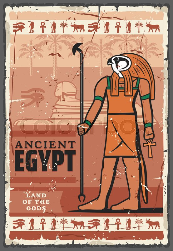 Ancient Egypt religion god Horus with sphinx statue and