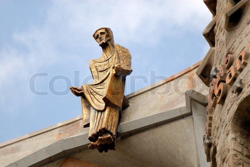 statue of jesus christ at sagrada familia in barcelona spain