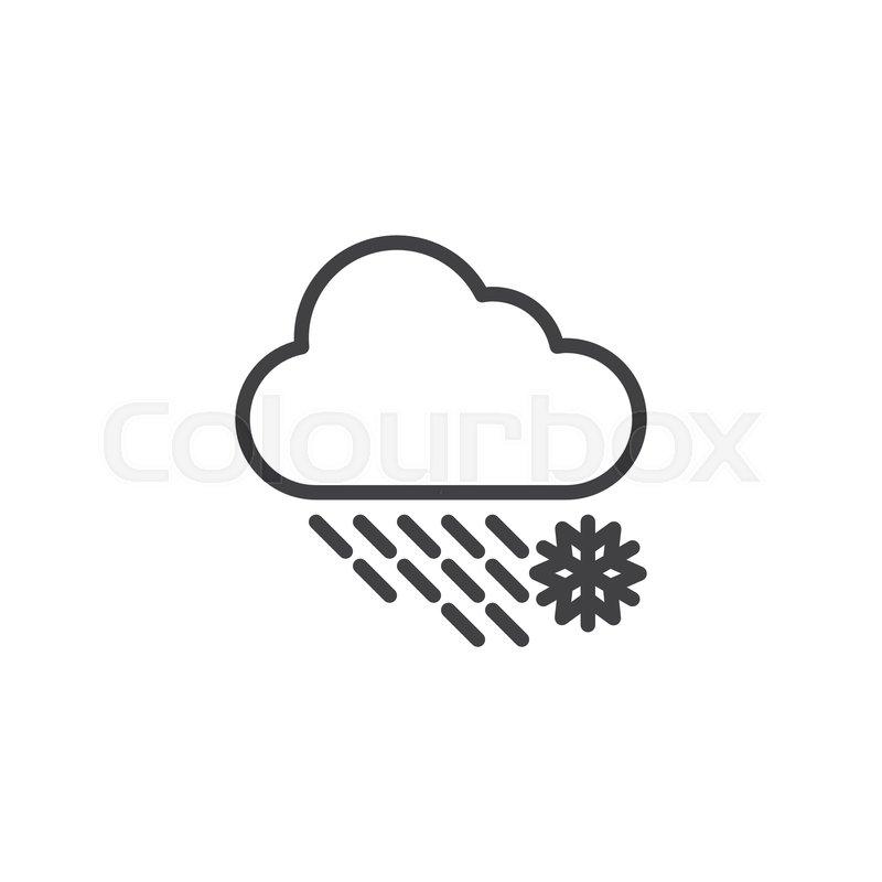 Snowfall cloud outline icon  linear       Stock vector