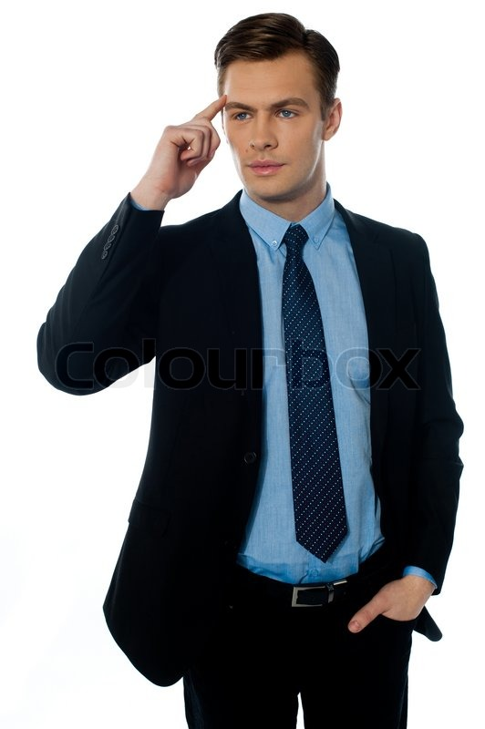 Handsome young businessman in black suit cracking master ...