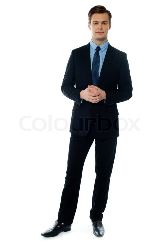 Young handsome man in black suit | Stock Photo | Colourbox