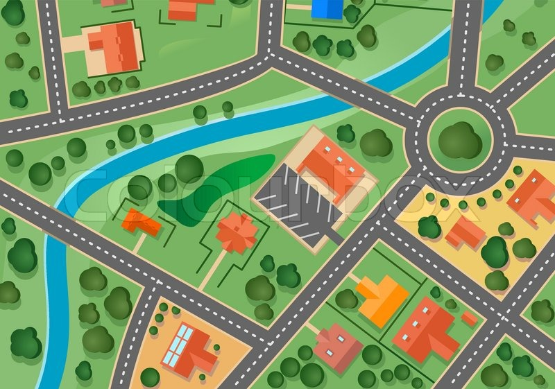 Map Of Suburb Village Stock Vector Colourbox - Town map for kids