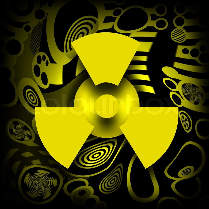 radioactive pollution nuclear symbol over destroyed