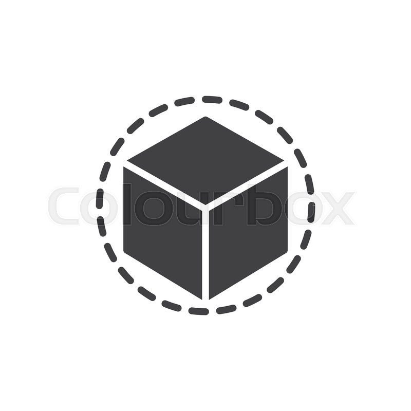 Cube 3D vector icon  filled flat sign     | Stock vector