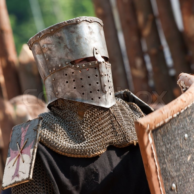 Medieval knights head dressed in armor | Stock Photo ...