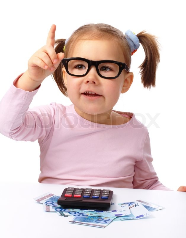 Stock image of 'Little girl plays with money'