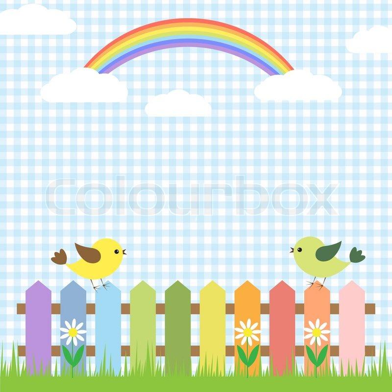 Cute Birds And Rainbow Stock Vector Colourbox