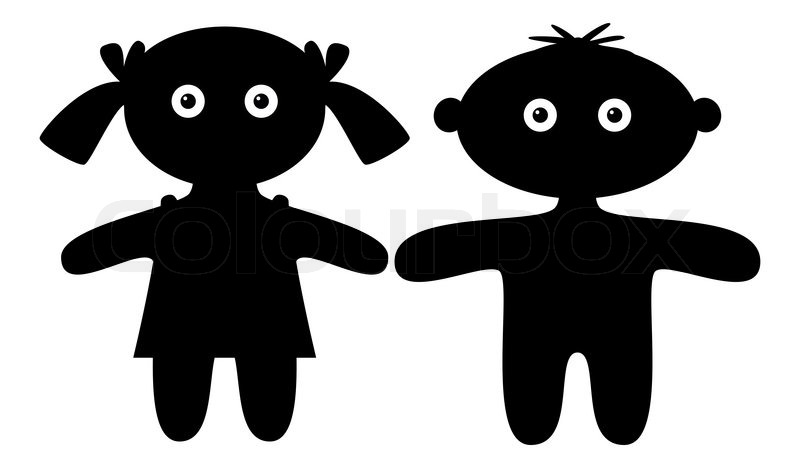 Dolls, little boy and girl, black silhouette, isolated ...