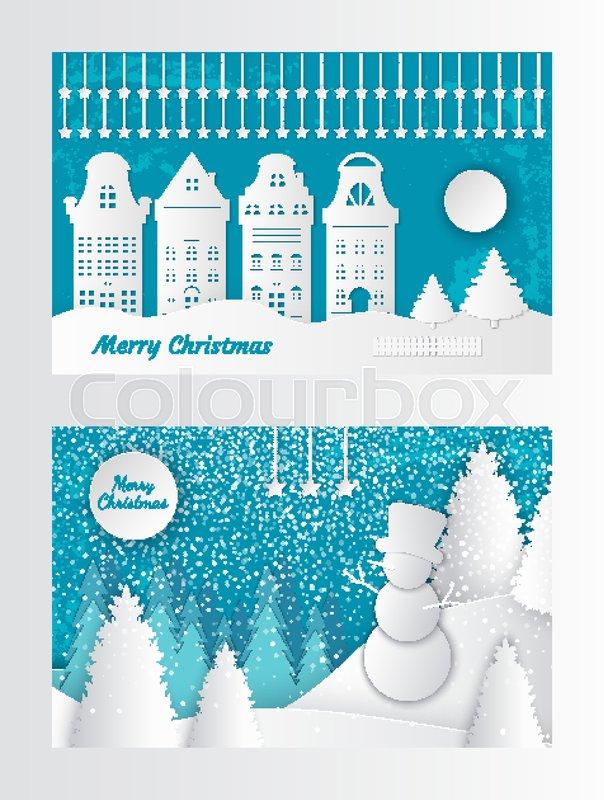 Merry Christmas Paper Cut Invitation Stock Vector