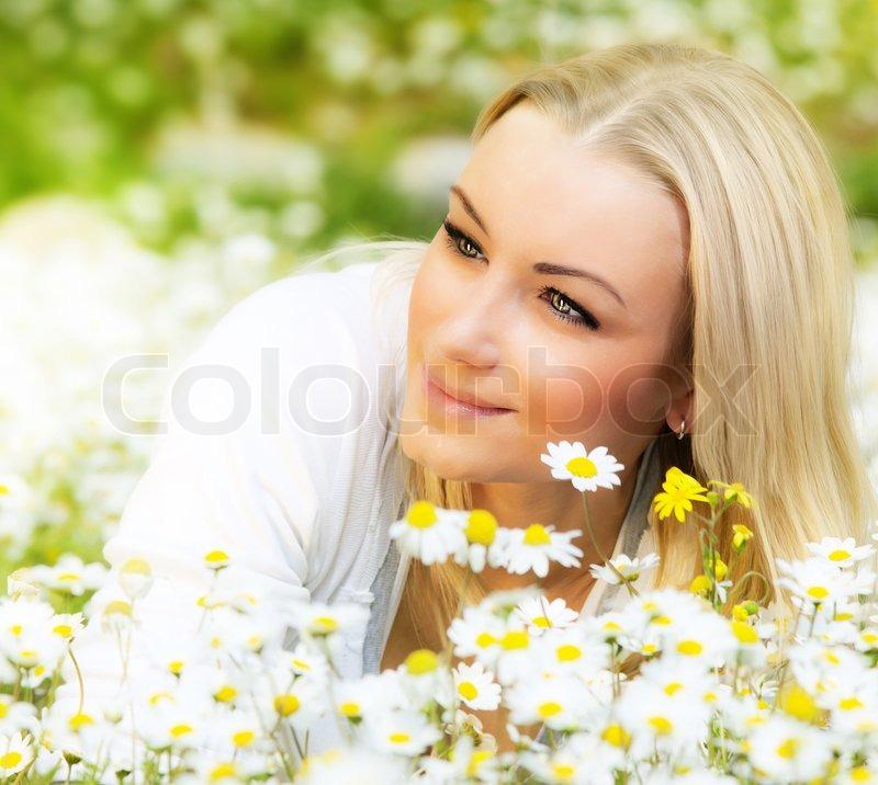 Happy Beautiful Woman Enjoying At Beach Stock Photo: Beautiful Woman Enjoying Daisy Field, Nice Female Lying