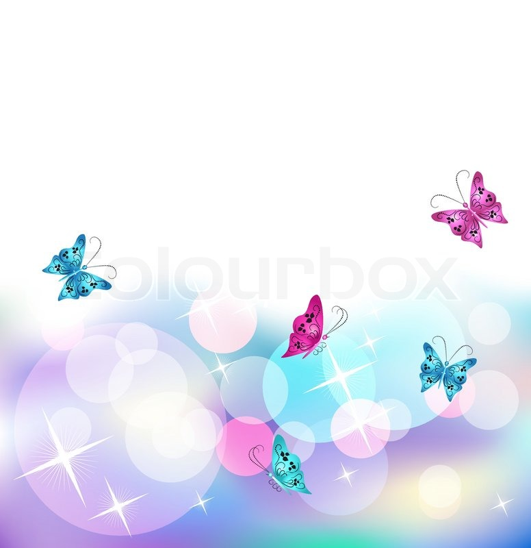 glowing vector background with butterfly stock vector