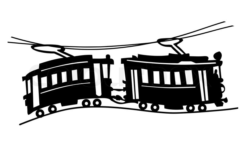 tram silhouette on white background  vector illustration