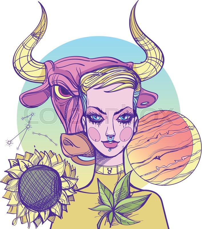 Girl Symbolizes The Zodiac Sign Stock Vector Colourbox