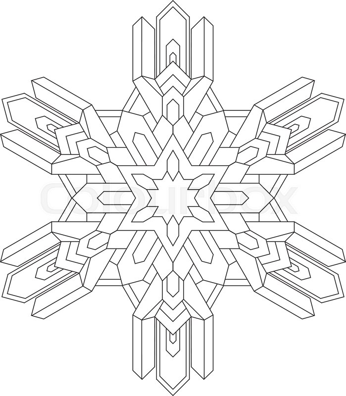 Outlines of snowflake in mono line ... | Stock vector ...