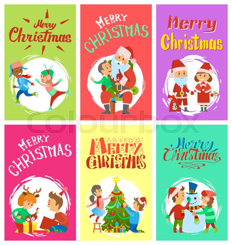 Merry Christmas Writing Clipart.Merry Christmas Wintertime Activities Stock Vector