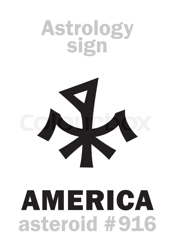 Astrology Alphabet: AMERICA, asteroid     | Stock vector