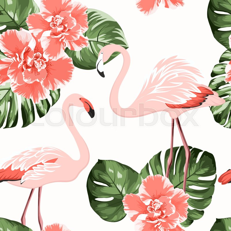 Bright crimson camelia flowers, exotic pink flamingo birds, tropical monstera philodendron green leaves. Trendy seamless pattern on white background, vector