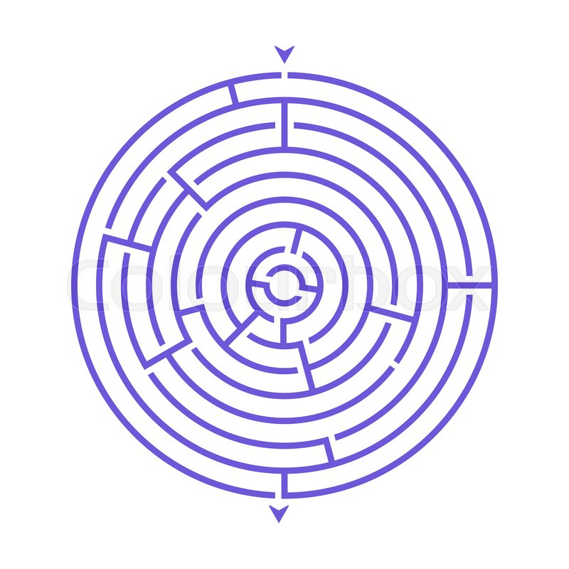 Simple round maze labyrinth game for     | Stock vector