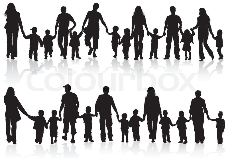 Collect Family Silhouettes  Stock Vector  Colourbox-8186