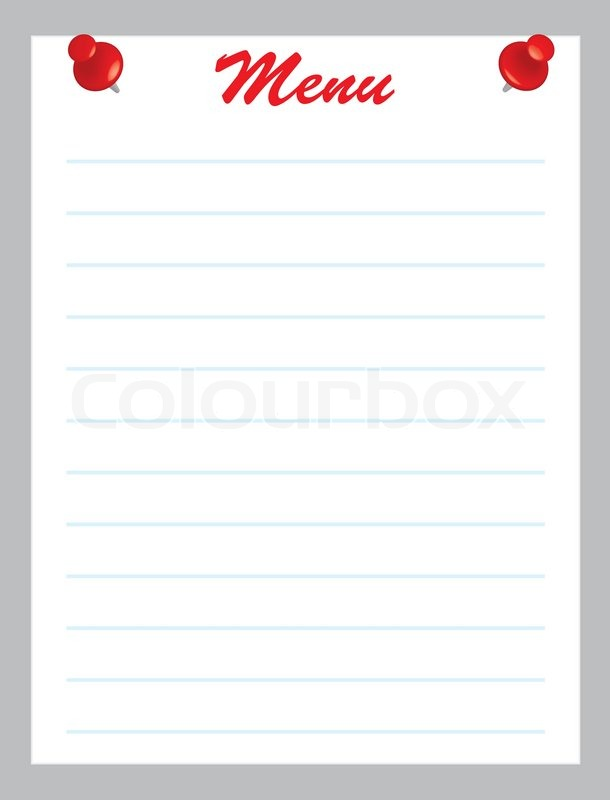 blank menu page with red pins vector illustration
