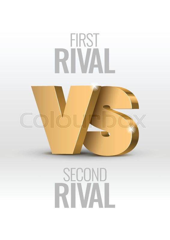 Versus Sign Gold 3d Symbol Vector Stock Vector Colourbox