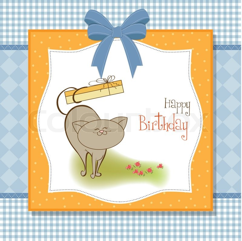 Happy birthday card with cat stock vector colourbox bookmarktalkfo Images
