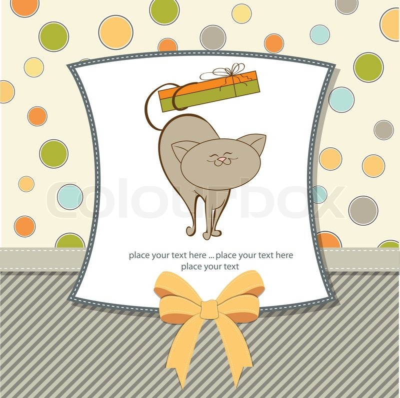 Happy birthday card with cat stock vector colourbox happy birthday card with cat vector bookmarktalkfo Images