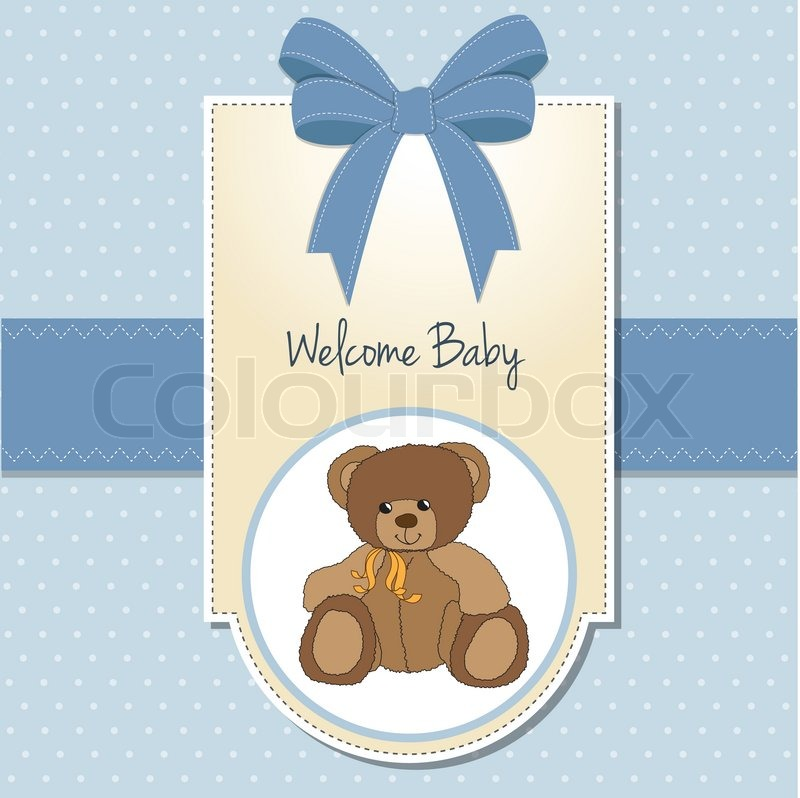 New Baby Boy Announcement Card With Stock Vector