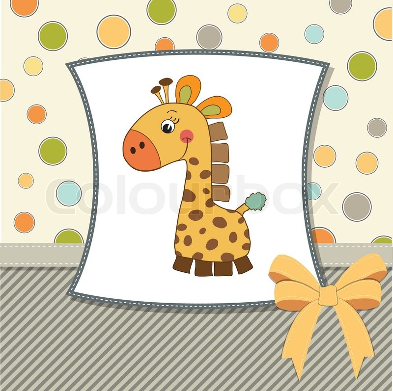 Birthday Card With Giraffe Toy Stock Vector Colourbox