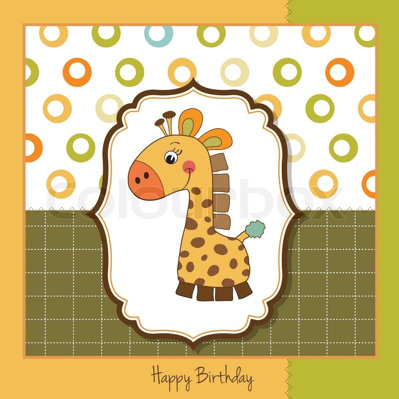 Geburtstagskarte mit giraffe spielzeug vektorgrafik