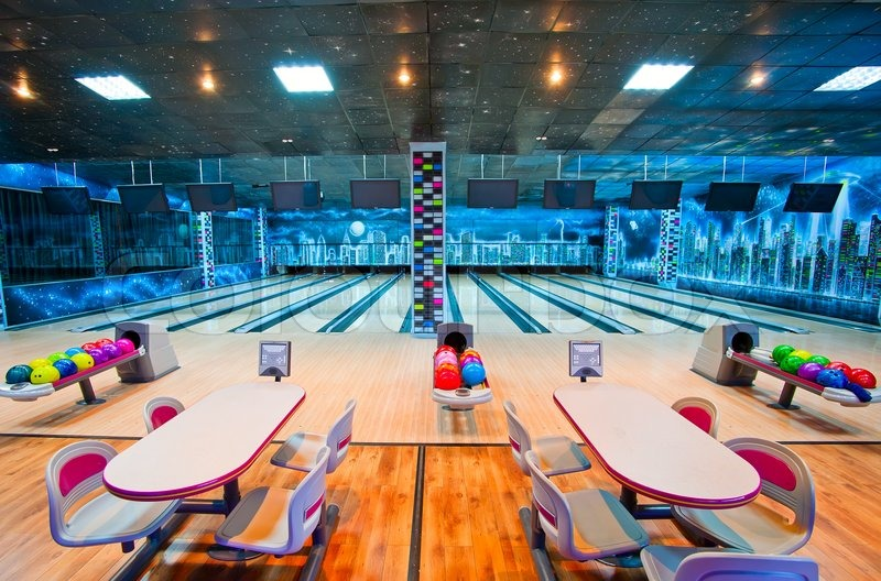 Stock image of 'Interior of a bowling center'