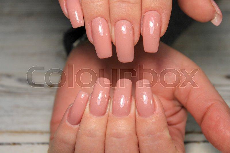 Youth manicure design best nails, gel varnish, stock photo