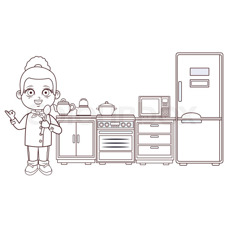 Chef Girl With Spoon Cartoon Cooking Stock Vector Colourbox