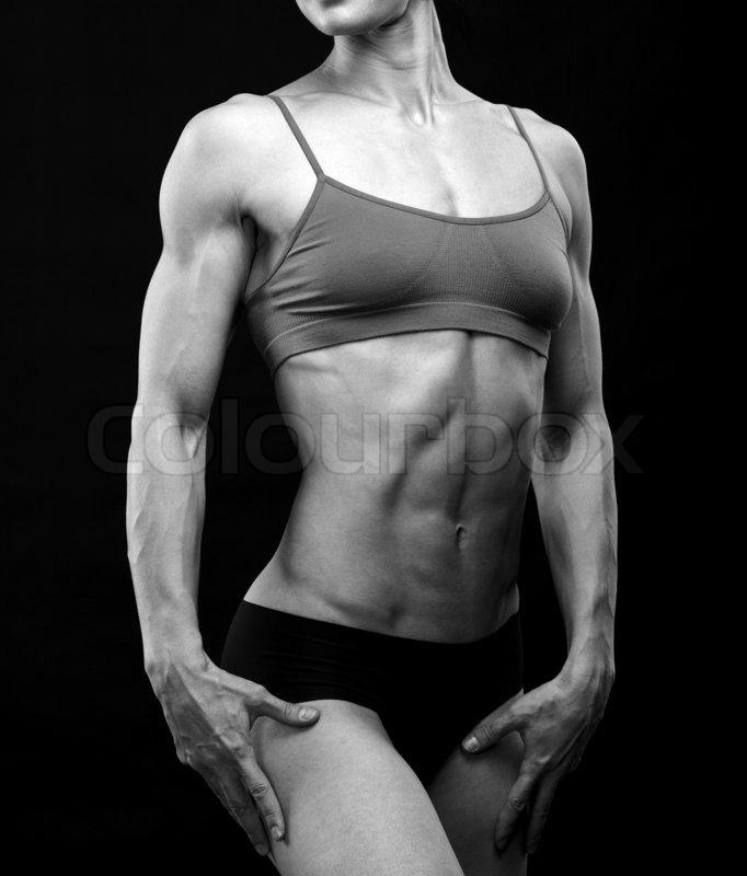 Schwarz -Weiß-Bild eines muskulösen weiblichen Körper | Stockfoto ...