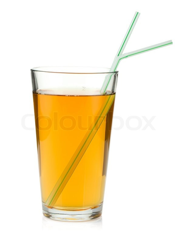 Apple juice in a glass with drinking straws   Stock Photo ...