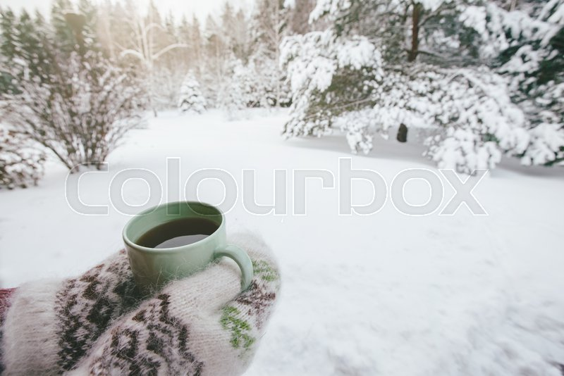 POV photo of mug with hot tea in human hand in mittens over snowy forest some winter morning, stock photo