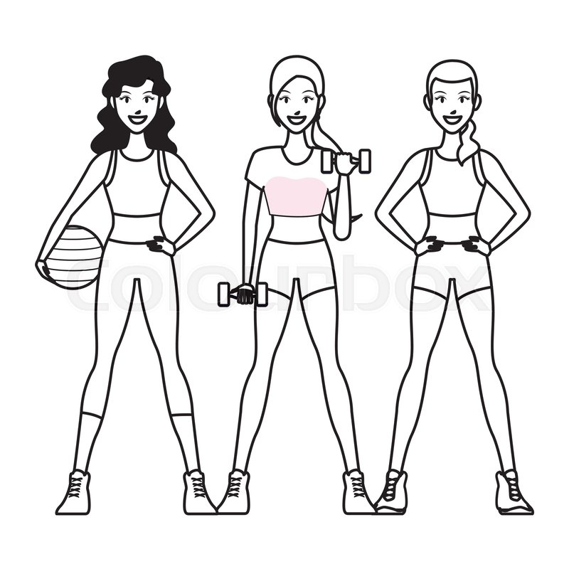 Fit Women Doing Exercise Cartoon Stock Vector Colourbox Find the perfect strength training women stock vector image. colourbox