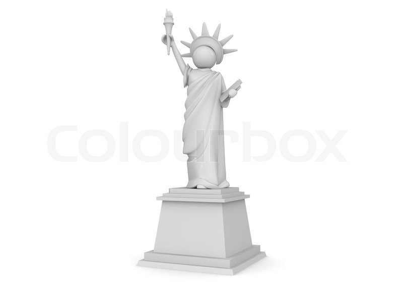statue of liberty cartoon 3d characters collection stock photo