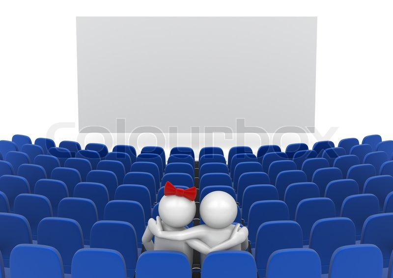 Datum Im Kino Liebe, Valentinstag Serie 3d Isolierte Zeichen, Stock Foto