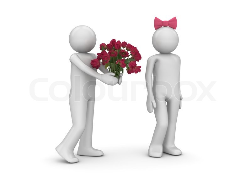 man giving flowers love, valentine day series d isolated, Beautiful flower