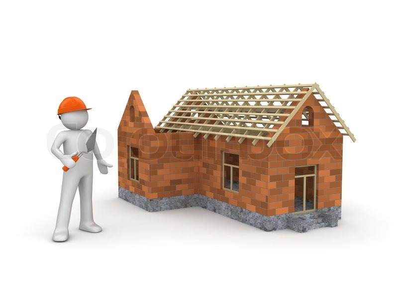 Builder Under Construction Wireframe House Stock Photo