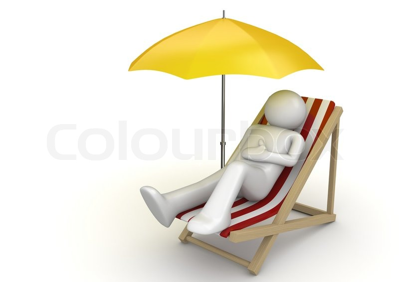 Man lying on a beach chair ynder umbrella stock photo colourbox voltagebd Gallery