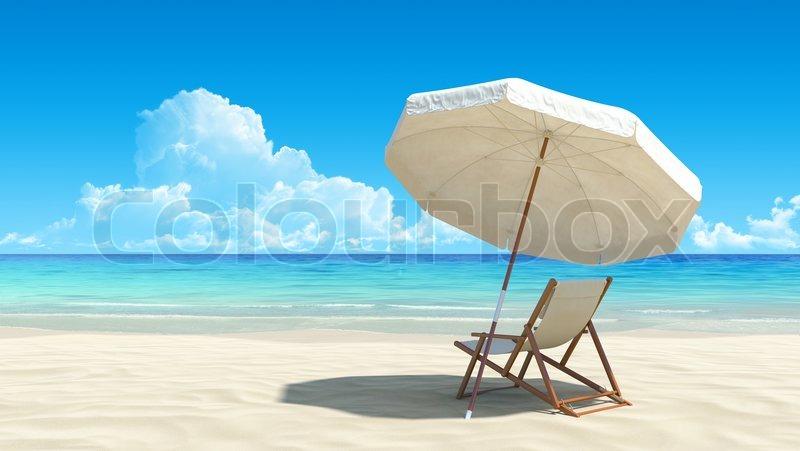Liegestuhl mit sonnenschirm strand  Liegestuhl und Sonnenschirm am idyllischen tropischen Sandstrand ...