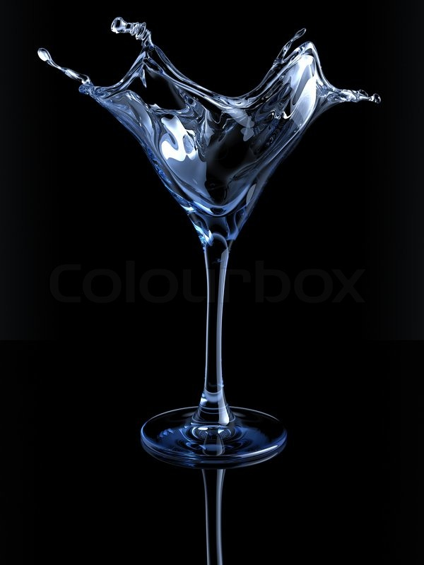 Splashing Martini Glass Stock Photo Colourbox