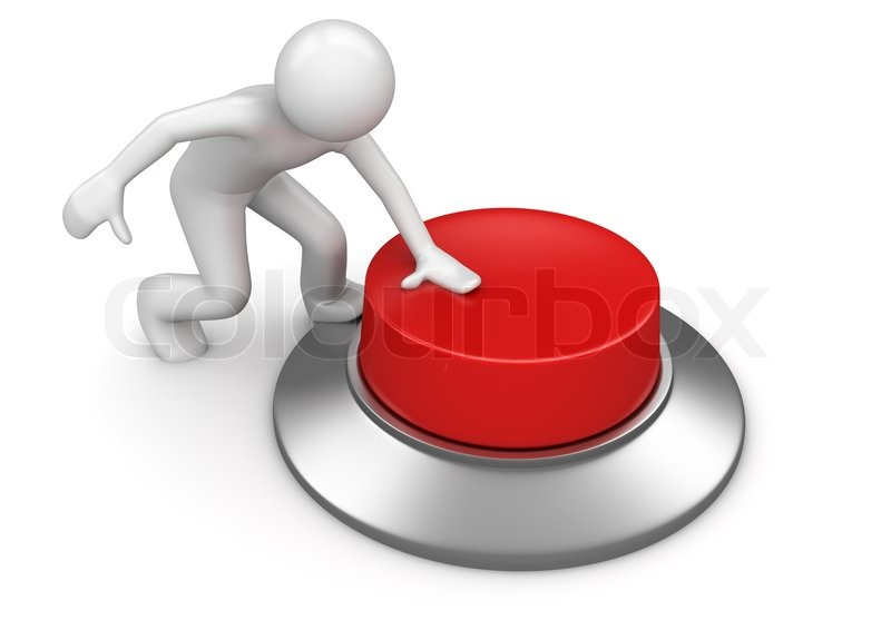 Man Pressing Red Emergency Button Stock Photo Colourbox