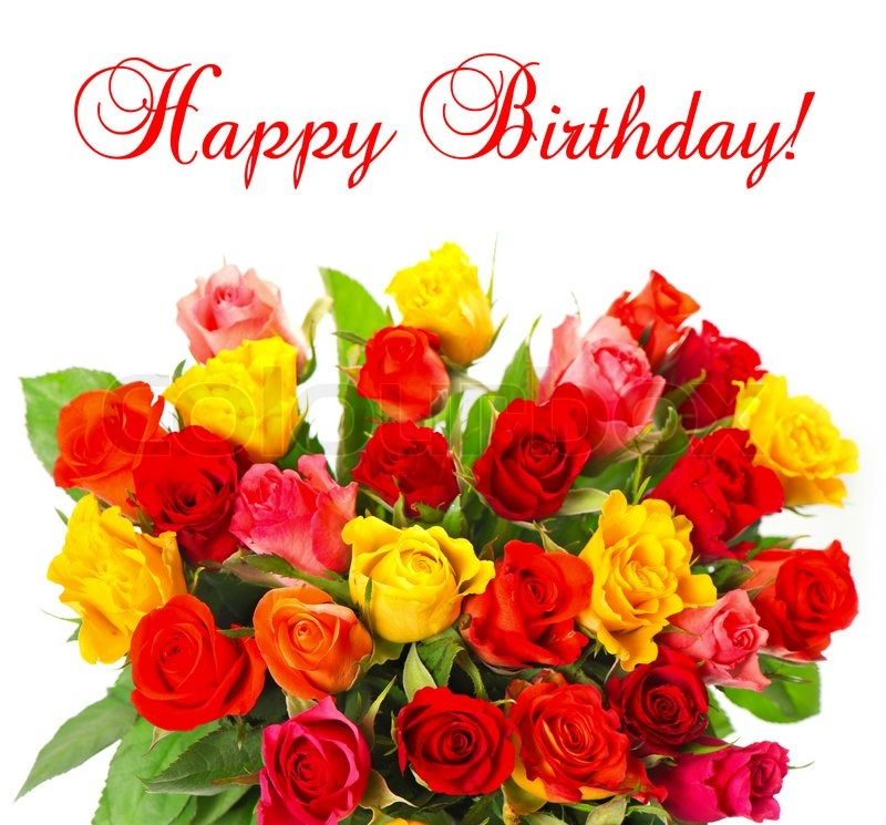 Bouquet Von Bunten Sortierten Rosen Auf Stockfoto Colourbox
