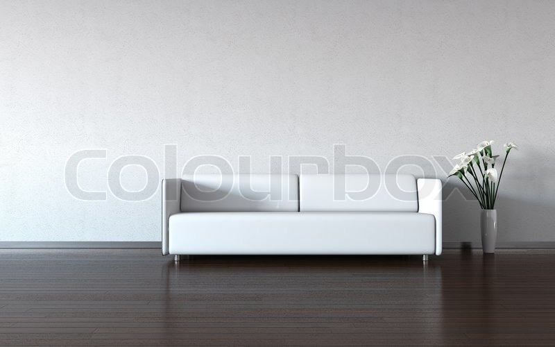 minimalismus wei e couch und vase durch die wand stock foto colourbox. Black Bedroom Furniture Sets. Home Design Ideas