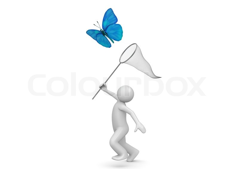 Stock image of 'Lifestyle collection - Catching butterfly with net'
